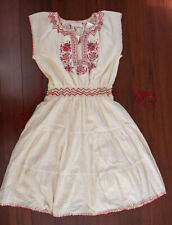 Hippie Bohemian Ethnic Embroidery Red Ivory Elastic Aztec Waist Tiered Dress