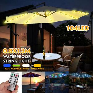 104LED Fairy Umbrella Lights Party Patio Outdoor Garden Parasol & Remote Control