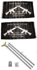 3x5 2nd Amendment Gadsden Rifles 2ply Flag Aluminum Pole Kit Set 3'x5'