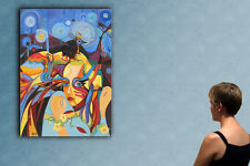 """39"""" - COUPLE IN LOVE  _____ ORIGINAL cubist painting oil on canvas by ANNA !!!"""