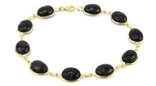 14K Yellow Gold Scarab Bracelet With Black Onyx Gemstones 8 Inches