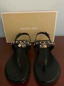 Michael Kors Women's Black Elsa Leather Sandal Size 7 M