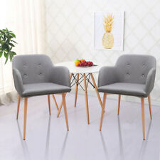 Set of 2 Modern Dining Chair Arm Chairs Retro Lounge Armchairs Solid Wood Legs