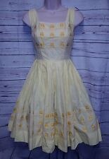 VTG 50's Melo Meo of California XS S Dress Rockabilly Embroidered Birds Parrots