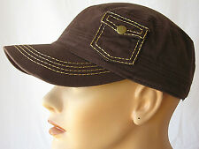 NWT Womens Pocket Cadet Cap Hat Brown100% Cotton Adjustable Military Castro HOT!