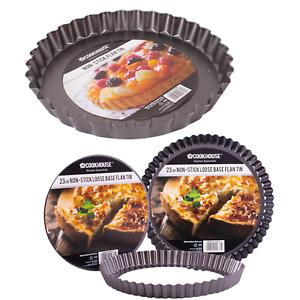 Flan Tin Pie Loose Base 28cm 23cm Non Stick Tart Quiche Baking Cooking Bakeware