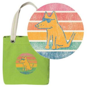 Teddy the Dog Tote Bag Retro Teddy Lime Green Canvas Limited Edition Distressed