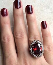 TURKISH HANDMADE RUBY STERLING SILVER 925K AND BRONZ RING SIZE 6,7,8,9