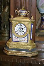 ANTIQUE FRENCH GILDED BRONZE SEVRES MANTEL CLOCK, C.1880 CHERUBS, STUNNING