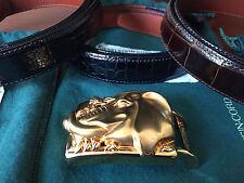 Kieselstein-Cord Gold Tone Elephant Buckle w/ THREE Alligator belt straps MINT