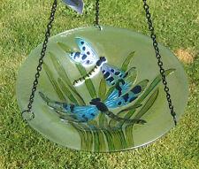 Dragonfly Bird Bath Iron Chain Hanging Purple Blue Dragonflies Green Leaves New