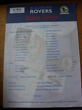 25/09/1997 Blackburn Rovers riserve V Stoke City RESERVES (singolo foglio)