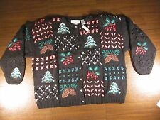 NORTHERN ISLES II Portraits Christmas Sweater ~ Black ~ Knitted by Hand 3X ~ NWT