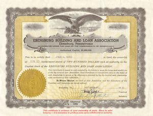Ebensburg Building and Loan Association > Pennsylvania stock certificate share