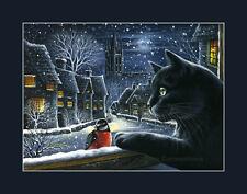 Black Cat Print Silent Night from an original by I Garmashova