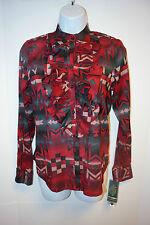 Ralph Lauren Women Red Black Shirt Mandell Ruffled Top Blouse NWT$99.50 SZ P/S