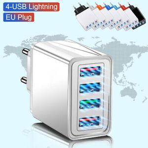 4 USB-LED-Wandladegerät 4-Port-Ladeadapter Block Beleuchteter Travel DE-Stecker