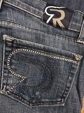 "ROCK & REPUBLIC Jeans KASANDRA BOOTCUT Embellished Stretch Low sz 25 28"" W SHORT"