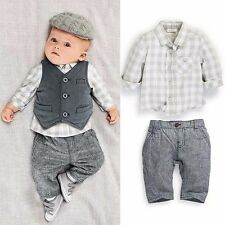 3pcs Newborn Baby Boy Waistcoat+Pants+Shirts Christening Wedding Outfit Set Suit