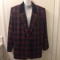 Vtg Sag Harbor Tartan Red Plaid Blazer Wool Blend Jacket Christmas Coat Size 16