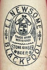 Vintage c1900s E. L.Newsome Blackpool Bottles Pict Stone Ginger Beer Bottle