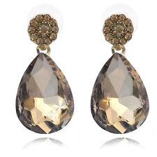 Light Brown Flower Dangle Teardrop Prom Party Stud Post Earrings Jewelry e3001c