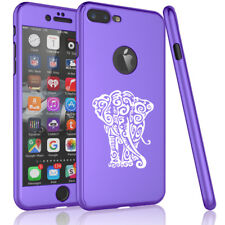 For iPhone 360° Thin Slim Case Cover + Glass Screen Protector Tribal Elephant