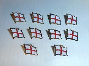 Wholesale Lot of 10 England Flag Lapel Pin, Brass Finish, BRAND NEW
