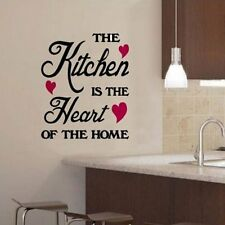 The Kitchen Is The Heart Of Home Quote DIY Wall Stickers Decor Vinyl Mural Decal