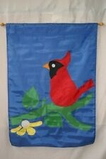 "28x40 Embroidered Sewn Red Cardinal Bird Appliqued Nylon Garden Flag 28""x40"""