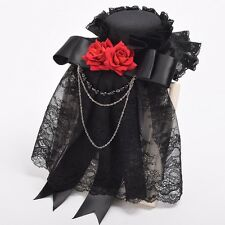 1pc Vintage Girls Red Floral Lace Black Hat Hairpin Steampunk Goth Lady Headwear