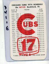 1974 CHICAGO CUBS BASEBALL SCHEDULE