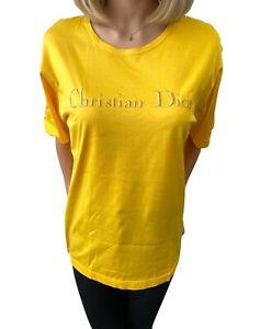 Christian Dior Vintage Big Logo Letter Crew Neck T-shirt Yellow #M Rank AB