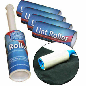 10 x 5 ROLLS LINT REMOVER ROLLER STICKY BRUSH DUST FLUFF FABRIC PET HAIR CLOTHE