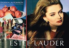 PUBLICITE ADVERTISING 025  1991  ESTEE LAUDER   rouge à lèvres vernis (2p)