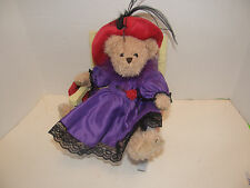 VINTAGE TEDDY BEAR PLUSH DOLL TOY & WOOD MINIATURE ROCKING CHAIR FLORAL DESIGN