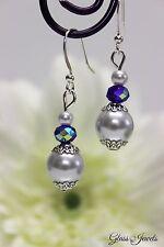 Glass Jewels Silber Ohrringe Ohrhänger Perlen Blau Weiß Oktoberfest #LA034