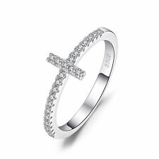 JewelryPalace 925 Sterling Silver Cubic Zirconia Sideways Cross Ring