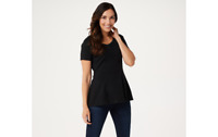 Isaac Mizrahi Live! Short-Sleeve Seamed Peplum Knit Top Black XL A354253