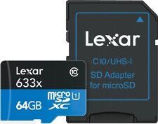 Carte mémoire Lexar 633X 64 Go 95MB/S Class 10 microSDXC + Adaptateur + Case