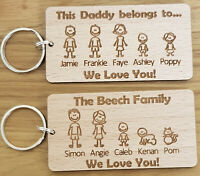 PERSONALISED FATHERS DAY GIFT BIRTHDAY KEYRING FAMILY PORTRAIT DADDY DAD