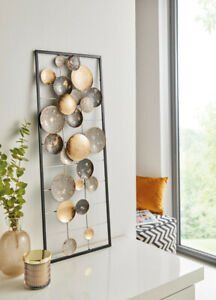 """Metall-WandBild """"Circles"""" 28 x 74 cm, Deko Objekt Bild"""