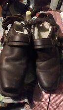 Frye women's slip-on brown harness biker shoe boots mules clogs size 9 1/2