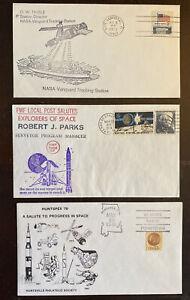 Lot Of 3 1973-78 Space Covers Vanguard Tracking, Surveyor, HUNTSPEX 122-34