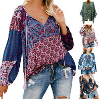 Womens V Neck Long Sleeve Boho Tops Party Blouse Loose T Shirt Tunic Plus Size