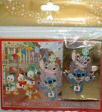 DISNEY Pin Trading Fun Invitation Card Pin Stitch Angel Scrump - HKDL - LE 500