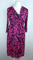 Boden Black Pink Floral Print Ruched Stretch Jersey Bodycon Dress UK 10 R