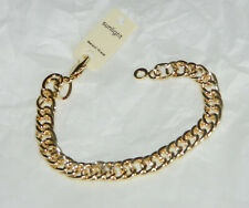 BRACELET DOUBLE MAILLE GOURMETTE PLAQUE OR  NEUF