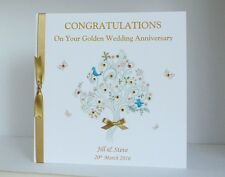 Large Personalised Golden 50th Wedding Anniversary Card Mum & Dad/Friends etc