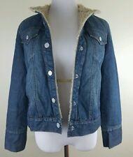 GAP Women's Faux Fur Lined Blue Denim Jean Jacket Size M Medium Vintage